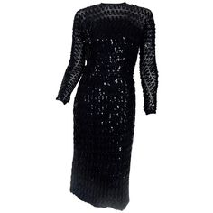 Vintage and Designer Evening Dresses and Gowns - For Sale at Sheer Sleeve Dress, Sheer Dress, Sequin Dress, Holiday Formal Dresses, Transparent Dress, See Through Dress, Designer Evening Dresses, Black Sequins, Timeless Fashion