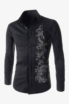 Embroidered Pattern Long Sleeve Shirt In Black. Free 3-7 days expedited shipping to U.S. Free first class word wide shipping. Customer service: help@moooh.net
