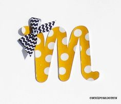 Mustard And White Polka Dot Cursive Letter...Fabric Iron On Applique...You Choose Your Own Letter...Ribbon Included on Etsy, $3.00