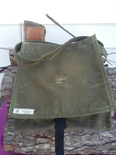 Waxed Canvas Haversack in OD Green by TheWanderingParson on Etsy