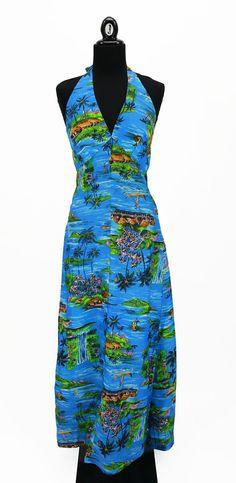 Vintage 1970s Blue Royal Hawaiian Halter Maxi Dress Size XS