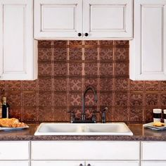 Fasade Traditional Style #10 Oil Rubbed Bronze 18 in. x 24 in. Backsplash Panel (Sample 6 in x 6 in Trad 10 Oil Rubbed Bronze), Gold
