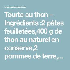 Tourte au thon – Ingrédients :2 pâtes feuilletées,400 g de thon au naturel en conserve,2 pommes de terre,100 g de petits pois,1 oignon,...