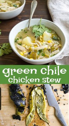 Green Chile Chicken Stew for Two. Use fresh roasted Hatch green chiles to make this incredible chicken stew with potatoes and corn. #hatchgreenchile #hatchchiles #greenchilechickenstew #chickenstew #chicken #chickensoup #newmexico #hatchgreenchilerecipes #hatchgreenchiles Green Chili Chicken Stew, Chicken Stew With Potatoes, Hatch Green Chili Recipe, Green Chile Stew, Green Chili Recipes, Mexican Food Recipes, Hatch Chili, Green Chilis, Green Chili Lasagna Recipe