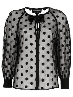 Shop for sheer cotton bow tie detail blouse by Sonia Rykiel at ShopStyle. Cotton Blouses, Shirt Blouses, Cotton Shirts, Sheer Black Shirt, Black Blouse, Sonia Rykiel, Blouse Vintage, Pretty Outfits, Blouse Designs