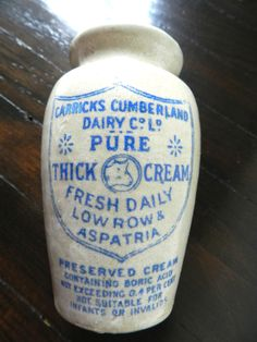 Antique Stoneware Crock - Dairy Bottle - Cow - Vintage Advertising Crock