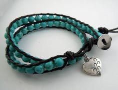 Hoof Prints Across Your Heart Turquoise Wrap Bracelet - Horse Jewelry, Equestrian Jewelry