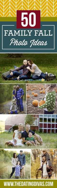 50 Family Fall Photo Ideas- including location, pose, and prop ideas AND tips for what to wear. TONS of fall photography inspiration for your next family photo shoot!