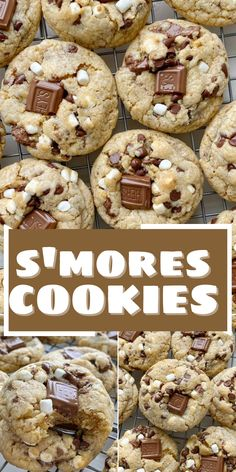 Smores Cookies, Fall Cookies, Yummy Cookies, Chocolate Graham Crackers, Chocolate Chip Cookie Dough, Chocolate Chips, Easy Cookie Recipes, Easy Desserts, Dessert Recipes