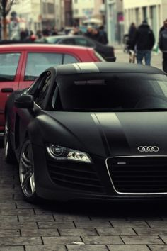 Matte black w/ glossy racing stripe