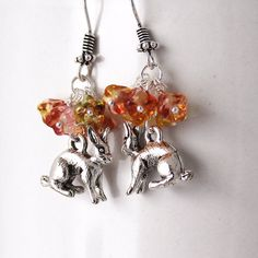 Pink Bunny Earrings  Silver Rabbit Charms Fuchsia & by Buntique