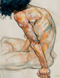 Artodyssey: Sylvie Guillot Amazing use of line to create form. Strong command of human anatomy knowledge, the way the artist exaggerates certain areas of the body helps to emphasize the model's turned away pose. Use of complementary blues and oranges is a great way of creating form and value without over rendering the figure.