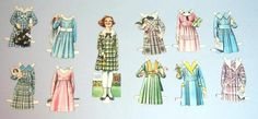 """7"""" Elsie Dinsmore Victory Garden Home Front Paper Doll w 10 Costumes 1919 