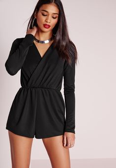 Get the party look with this all black, wrap front playsuit. #GIRLCRUSHWORHTY