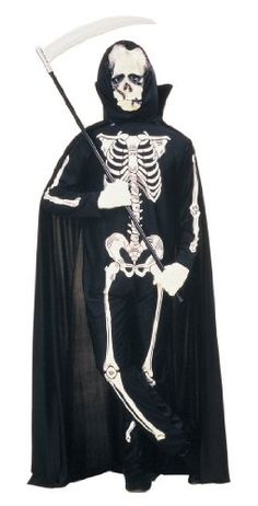 bf2e15b20e34 Adult Costumes - This scary Skeleton Costume includes the hood and jumpsuit  with silk-screened bone design. A great costume for a Grim Reaper!