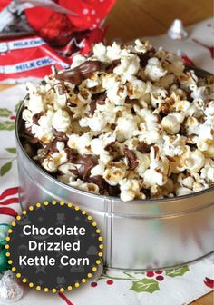 This Milk Chocolate Drizzled Kettle Corn is a fantastically easy last minute snack recipe. It's perfect for a get-together, gifting or movie night!