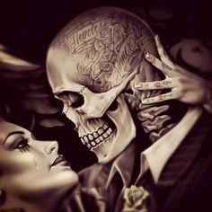 Chicano Hopelessly In Love. Amor Chicano, Chicano Love, Chicano Tattoos, Chicano Art, Skull Tattoos, Body Art Tattoos, Girl Tattoos, Arte Cholo, Cholo Art