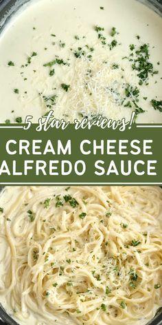 Cream Sauce Pasta, Cheese Sauce For Pasta, Cream Cheese Sauce, Sauces For Pasta, Heavy Cream Recipes, Cream Cheese Recipes, Cheese Sauce Recipes, Fetuccini Alfredo, Fettucine Alfredo Recipe