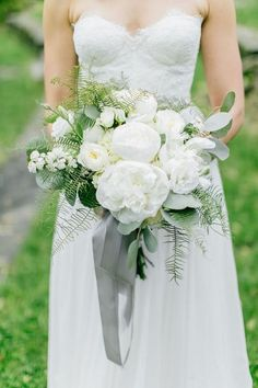 white and green wedding bouquet with gray ribbon #weddingflowers #neutralcolors #weddingcolors #weddingbouquets