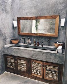 36 Modern Rustic Bathroom Decor Ideas – – rustic home diy Rustic Bathroom Designs, Rustic Bathroom Decor, Rustic Bathrooms, Bathroom Interior, Small Bathroom, Bathroom Ideas, Cement Bathroom, Bathroom Vanities, Bathroom Pink