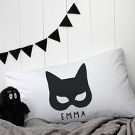 Personalised 'Catwoman' Pillowcase by A Piece Of, the perfect gift for Explore more unique gifts in our curated marketplace. Catwoman Mask, Personalized Pillow Cases, Name Design, Cushions, Pillows, My Little Girl, Sewing For Kids, Pillow Covers, Unique Gifts