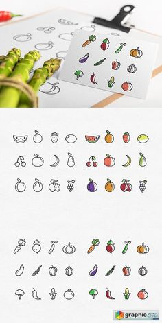 Set of 48 Fruit & Vegetable icons