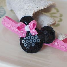 PINK Bow Mouse Ears Headband Minnie Mouse by MyLittlePixies, $7.00 - this has Chloe written all over it!