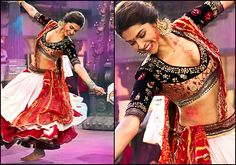 Deepika padukone in magenta lehenga and black choli with gold thread ...