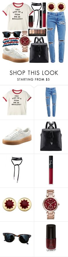 """""""#196 Are you in a film or in reality?"""" by mariana15c ❤ liked on Polyvore featuring House of Holland, Puma, NARS Cosmetics, House of Harlow 1960, Michael Kors, Ray-Ban, Edward Bess, redwhiteandblue, sporty and puma"""