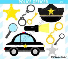 Police Officer Clip Art for Personal and Commercial Use from NRC Design Studio1 on TeachersNotebook.com -  (10 pages)  - Instant download cute police officer clipart for personal and commercial use.