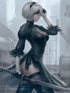I don't really know anything about the story of Nier: Automata yet, although I'm hyped for the game. Nier: Automata - RE-IMAGINATED Nier Automata, Metroid, Fantasy Characters, Female Characters, Samus, Fanart, Anime Manga, Art Girl, Fantasy Art