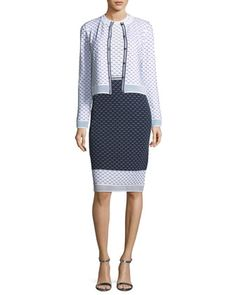 Graphic Ripple-Stitch Knit Cardigan  and Matching Items by St. John Collection at Neiman Marcus.