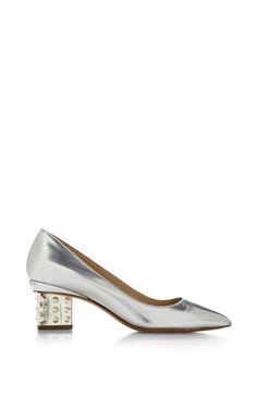 Triangle Pump Stud Heel In Silver by Nicholas Kirkwood for Preorder on Moda Operandi