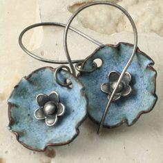Faded Denim Flower in a Cup - Enamel Earrings. $32,00, via Etsy.
