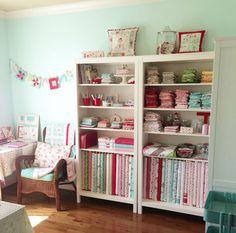 love this sewing space - so bright and fun looking (tasha noel's sewing studio)