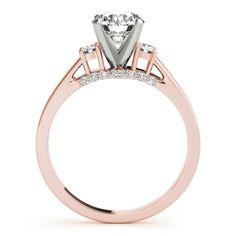 Engagement Ring -Three Stone Diamond Engagement Ring with Pave Accents in Rose Gold-ES2011RG
