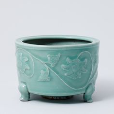 Kinuta Celadon Censer with Applied Peony Design. Asia Week New York Chinese Ceramics, Peony, White Ceramics, Galleries, Southern, Asia, Blue And White, Pottery, York