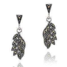 Glitzy Rocks Sterling Silver Marcasite Dangling Leaf Earrings