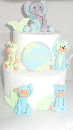 Fondant Animal Cake Toppers Elephant Monkey by ToppersbyAlma