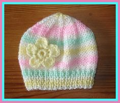 marianna's lazy daisy days: Candystripe Knitted Baby Hats - pattern for premature babies too. Baby Hat Knitting Patterns Free, Baby Cardigan Knitting Pattern, Baby Hat Patterns, Baby Hats Knitting, Free Knitting, Knitted Hats, Crochet Patterns, Free Pattern, Creative Bubble