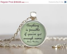 Ginny Weasley Harry Potter quote necklace handmade by My Lil Red Wagon.    Anything is possible if youve got enough nerve. - Ginny Weasley