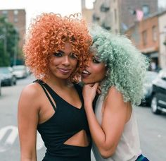 black girls with colorful hair, colored hair, red hair, orange hair, green hair inspiration