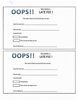 """Daycare late fee form. A simple """"oops"""" notice that payment must be made."""