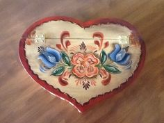 Heart shaped wood jewelry box. Hand painted folk art. Rosemaling   Available on Esty. Sold