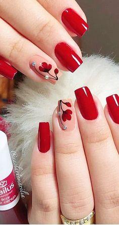 UNHAS VERMELHAS DECORADAS 2020 - Luiza Gomes Beach Nail Designs, Red Nail Designs, Acrylic Nail Designs, Summer Nail Designs, Fingernail Designs, Pedicure Designs, Best Nail Art Designs, Matte Acrylic Nails, Marble Nails