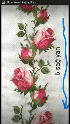 Discover thousands of images about Roses cross stitch. Cross Stitch Bird, Cross Stitch Borders, Cross Stitch Flowers, Cross Stitch Designs, Cross Stitching, Cross Stitch Patterns, Beaded Embroidery, Cross Stitch Embroidery, Embroidery Patterns