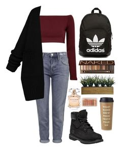"""""""Untitled #29"""" by t-k-amie on Polyvore featuring Glamorous, Topshop, Timberland, adidas Originals, Urban Decay, Laura Ashley, Kate Spade, Elie Saab, ban.do and women's clothing"""