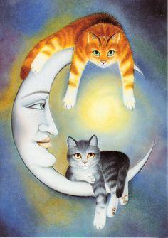 Otros gatos en la luna; ella está encantada.