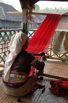 Woman working with loom. Myanmar #inspiredtravel #travel