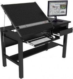 "Freedom Drafting Table 60''x30"" - Black Frame, Black Surface"